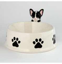 Perfect for any four pawed friend and their meals, a round white pet bowl with an added Frenchie Decal on the rim