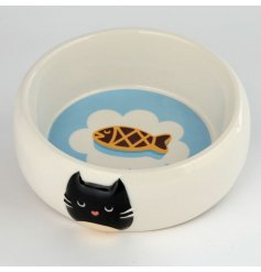 Perfect for any four pawed friend and their meals, a round white pet bowl with an added cat Decal on the rim