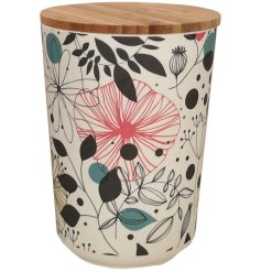 Perfect for storage in any home of the house, a medium bamboo based pot with a pretty botanical print across it