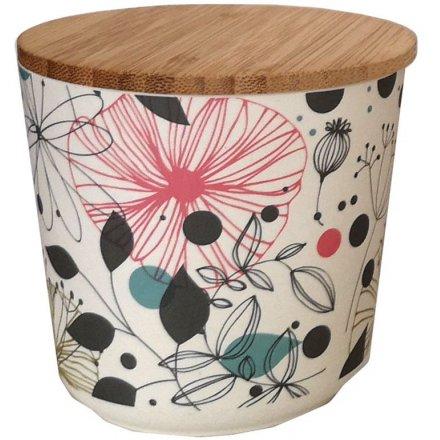 Botanical Flower Bamboo Pot, 10cm
