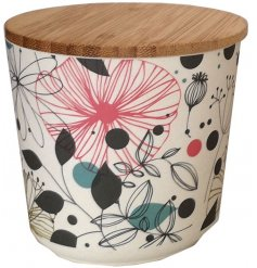 Perfect for storage in any home of the house, a small bamboo based pot with a pretty botanical print across it
