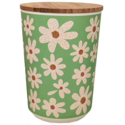 Daisy Print Bamboo Storage Pot, 14cm