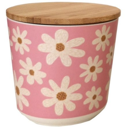 A pretty daisy designed bamboo storage jar, perfect for using in any room of the home!