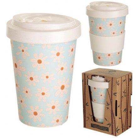 Daisy Print Bamboo Travel Cup 14cm