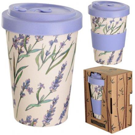 Purple Lavender Bamboo Mug 14cm