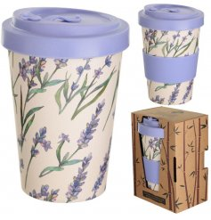 A pretty patterned bamboo travel mug set with purple tones and a lavender decal