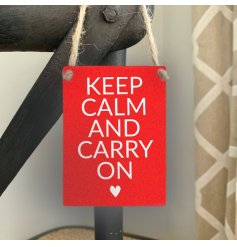 Keep Calm and Carry On. A bold and bright mini metal sign with a positive slogan.