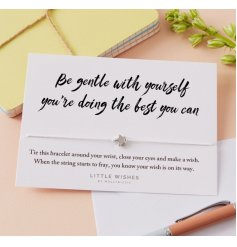 Send a lovely message to friends and loved ones with this wish bracelet set upon a sentiment card.