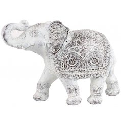 A beautiful Thai elephant figurine with a beautifully decorative design. Complete with a white washed finish.