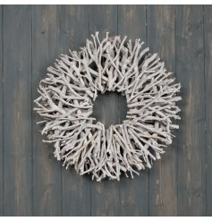 A stunning natural twig wreath with a grey washed finish. An on trend statement for the home or garden.