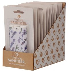 Protect yourself from bacteria with this cleansing, spray hand sanitiser in an attractive lavender design.