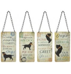 An assortment of hanging metal signs with added vintage charm to each and an additional gold bell decal
