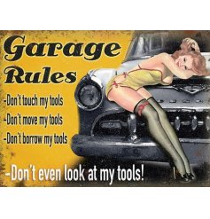 A vintage metal sign detailing Garage Rules. A humorous gift item for DIY and motor enthusiasts.