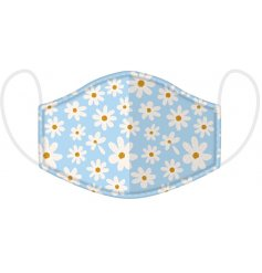 Keep yourself and others safe with this pretty pastel coloured daisy design face covering.