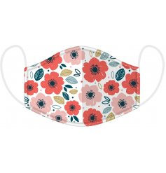 Protect yourself and others with this pretty and colourful poppy design face covering.