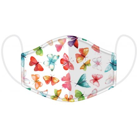 Protect yourself and others with this pretty and colourful butterfly design face covering.