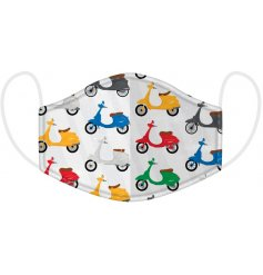 Protect yourself and others with this cool and quirky scooter design face covering.