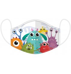 Protect yourself and others with this quirky and colourful friendly monster design face covering for children.