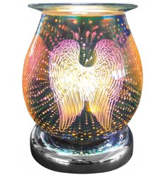 An attractive melt and oil burner lamp with a striking, angel wing colour design.