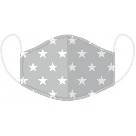 Kids Grey Star Face Covering Washable