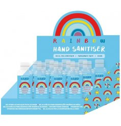 Hand sanitiser gel in an attractive rainbow design bottle. Kills 99% of bacteria. Fragrance free.