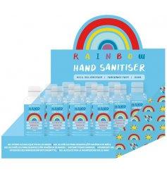 Hand sanitiser gel in an attractive rainbow design bottle.