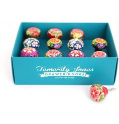 A box of 12 assorted floral drawer knobs in bold and beautiful colours.