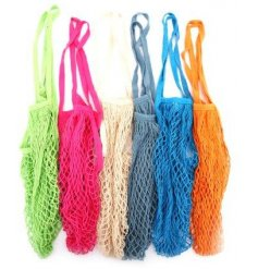 An assortment of 6 colourful and cool cotton string bags. Perfect for groceries, storage, toys and more!