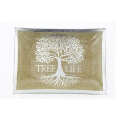 A rectangular shaped trinket dish featuring a silver tree decal and bold Tree of Life text