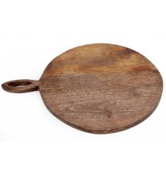 A rustic wooden chopping board with an elegant carved handle.
