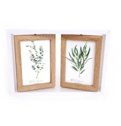 A natural living photo frame with three swivel frames inside.
