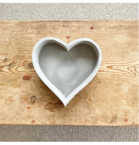 A rough luxe cement heart tray with plenty of character and charm.