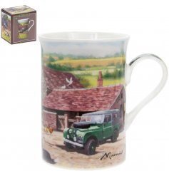 A fine china mug with a farmyard illustration by Macneil