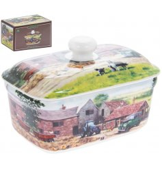 Macneil illustrated farmyard fine china butter dish with gift box.