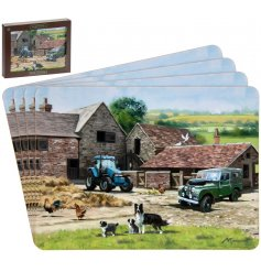 Macneil illustrated farmyard set of placemats with gift box.