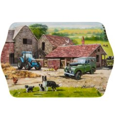 A small tray with a farmyard illustration by Macneil.