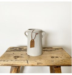 A charming tall vase with small eared handles. Complete with a tan coloured PU leather tag which reads 'for you'