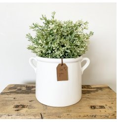A chic white ceramic pot planter with a complimentary PU Leather tan label, which reads 'for you'.