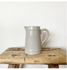 A classic grey ceramic jug with plenty of country character and charm.