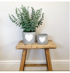 A chic and simple cement planter with a white painted heart.