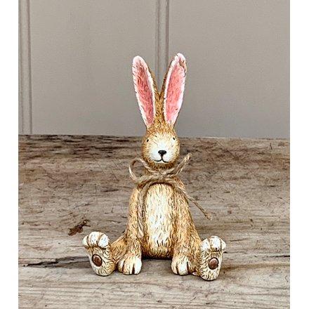 Sitting Rabbit W/Bow, 10cm