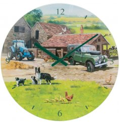 Macneil illustrated farmyard glass clock