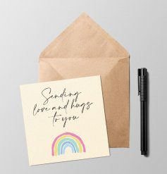 Send love and hugs with this beautifully designed greetings card. Blank inside for your own message.