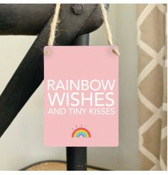 A mini metal sign in a pretty pink tone perfectly decorated with a bold script text and rainbow print