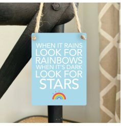 A mini metal sign in a pretty blue tone perfectly decorated with a bold script text and rainbow print