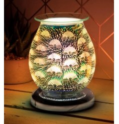 A bold and beautiful 3D patterned glass wax burner set with a colourful LED burst