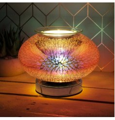 A stunning and unique curved glass lamp with oil burner/wax melt feature that also creates a 3-dimensional, multicoloure