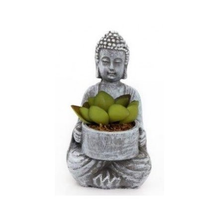 Decorative Buddha With Succulent, 14cm
