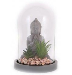 A sitting buddha surrounded by succulents set within a glass cloche