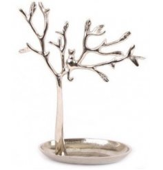 A tall standing metal tree shaped jewellery holder with an added perched cat feature